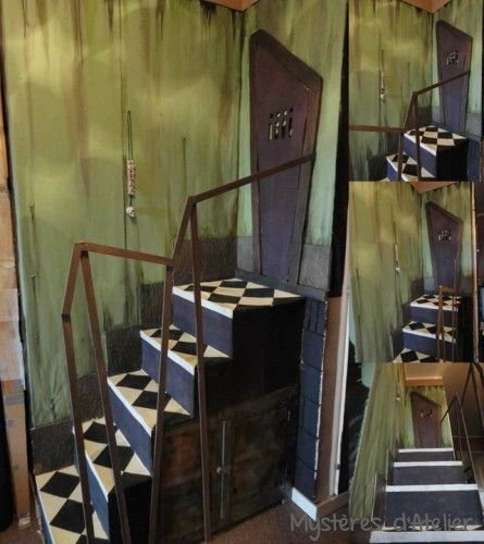 Halloween preparation, stairs for Alice in Wonderland made entirely from cardboard.