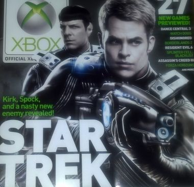 I haven't seen this anywhere, so I thought I'd upload a (poorly taken) picture of my Xbox Magazine. Star Trek! The game has actually been in the making for a good while, and since they're not rushing it out I think it might actually be a decent Kirk & Spock adventure (plus, Chris and Zach are doing the voices, so that's always cool). I'm looking forward to it! #StarTrek #Kirk #Spock