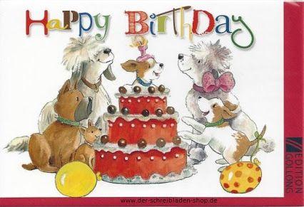 Fröhliche Hundekarte zum Geburtstag happy dogs wishing you a happy birthday #Doppelkarte von #Gollong #Papeterie #Schreibwaren #Nürnberg #cards #postcrossing   www.der-schreibladen-shop.de