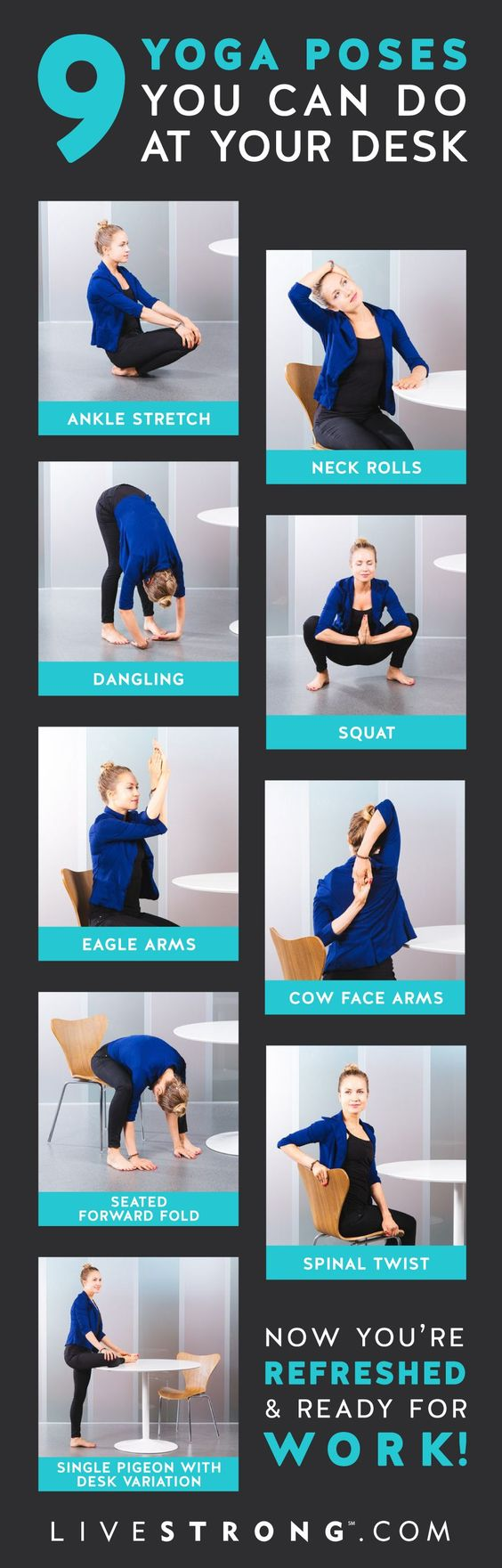9 Yoga Poses You Can Do at Your Desk Right Now | Yoga ...
