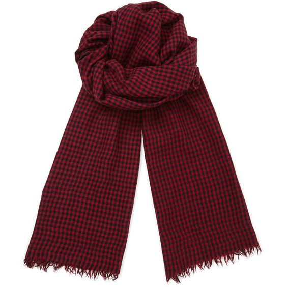 Jigsaw Gingham Selvedge Scarf ($74) ❤ liked on Polyvore featuring mens, men's accessories, men's scarves and red