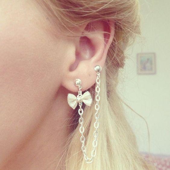 bow cartilage piercing chain double earrings hmmmm