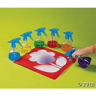 """Fill spray bottles with watered down paint use muscles to spray a mist over a stencil ("""",)"""