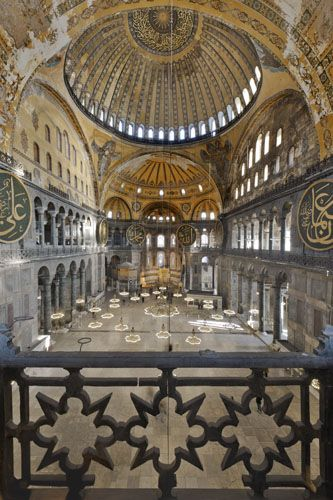 Inner Space of Hagia Sophia Church. The current building was originally constructed between 532 and 537 on the orders of the Byzantine Emperor Justinian.