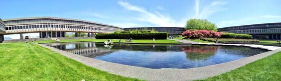 Beautiful panoramic image of SFU's AQ. Provided via Twitter / LilithAversa: #SFU you're purty ...