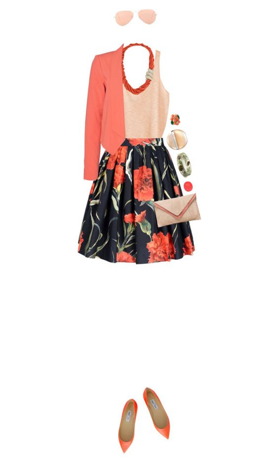 """""""Coral"""" by ladomna ❤ liked on Polyvore featuring Ray-Ban, River Island, H&M, Harry Winston, Dolce&Gabbana, Vero Moda and Van Cleef & Arpels"""
