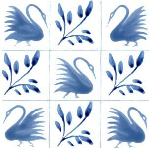 William Morris reproduction Swan design tiles.