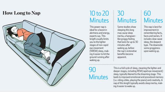 How long to nap for the best brain benefits: 10-20 mins for alertness; 30 mins may cause grogginess; 60 mins for boosting your memory; or 90 mins for one REM sleep cycle!
