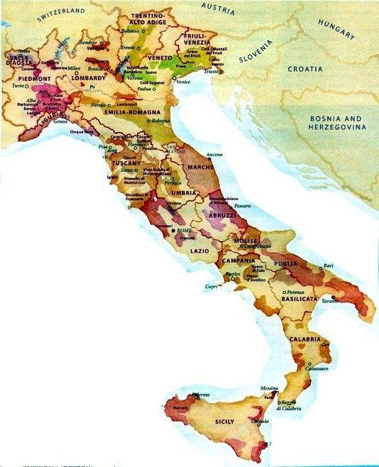 Karta Vinregioner Italien Munskankarna Sektion Bastad Italien