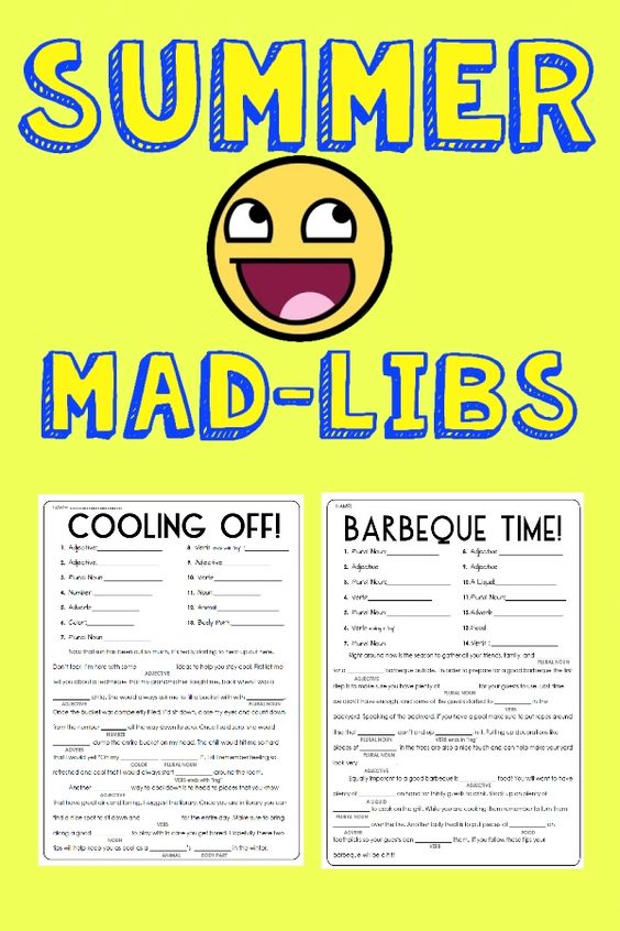 It is a photo of Superb Summer Mad Libs Printable