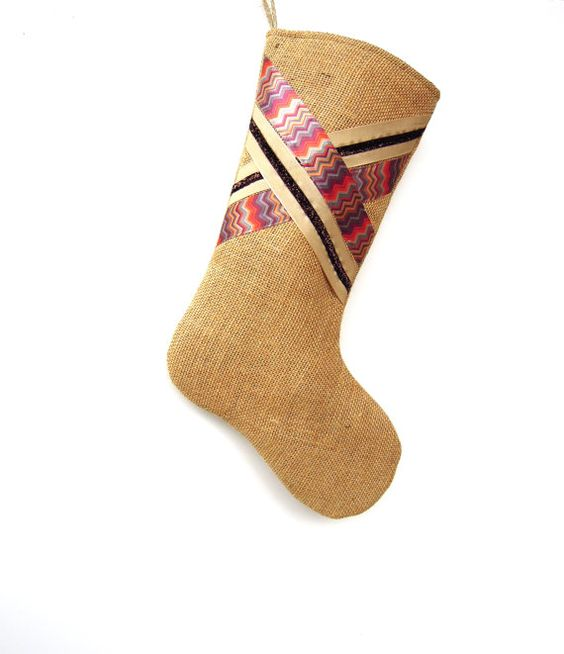 Ribbon Burlap Stocking Burlap Stocking Brown by ChristmasCreate, $28.00