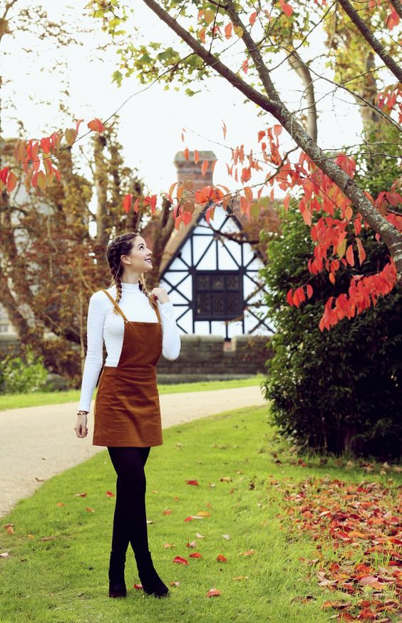 I just really want to visit the building and location in the background Zoella | Autumn Style | Pinafore & Plaits