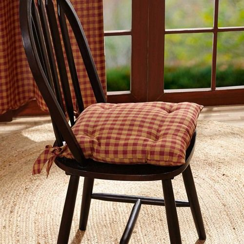 Burgundy Check Chair Pad 15x15 Country Primitive Decor