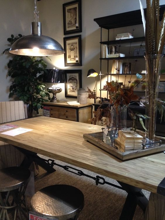 raw and rustic wood dining table industrial kitchen