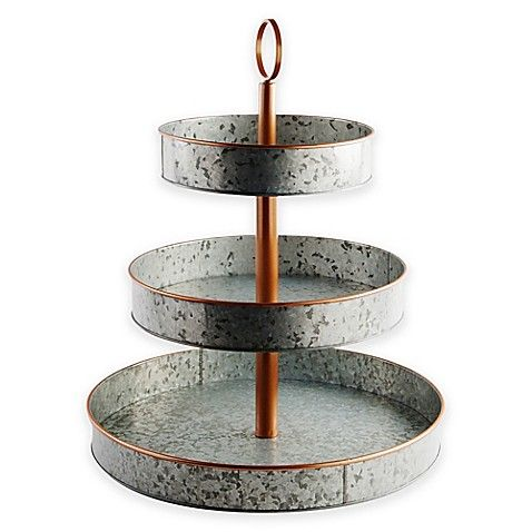 Heritage Home Galvanized Metal And Copper 3 Tier Serving Stand Serving Stand Galvanized Tiered Tray Farmhouse Coffee Bar