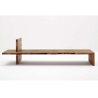 Minimal Wooden Bench With Armrest In Makassar Ebony
