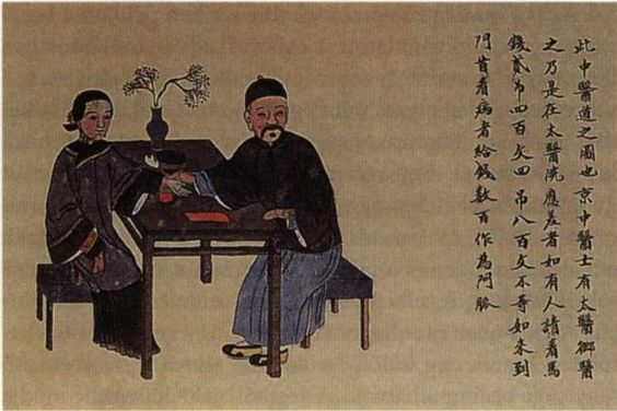 Traditional Chinese practitioner examining patient to cure ailment