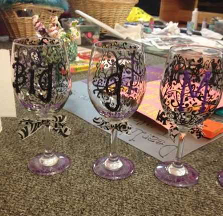 Another hand painted wine glass, perfect for a birthday party!