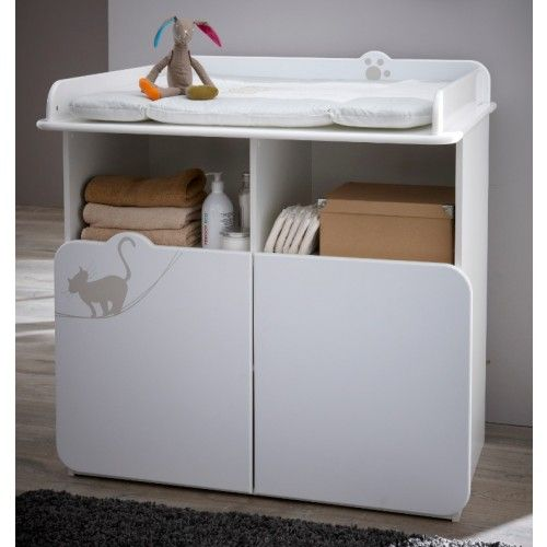 commode table langer avec dcoration au motif petit chat elle dispose de - Table A Langer Commode