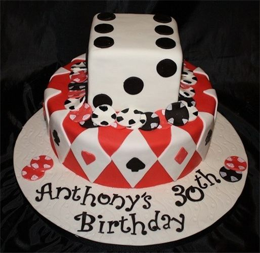 Casino Cake : Two Tier Fondant Covered Cake To Celebrate A