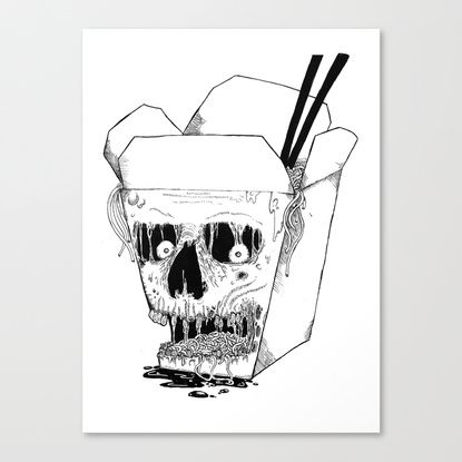 """Monster Food: Takeout Canvas Print"" at Society6."