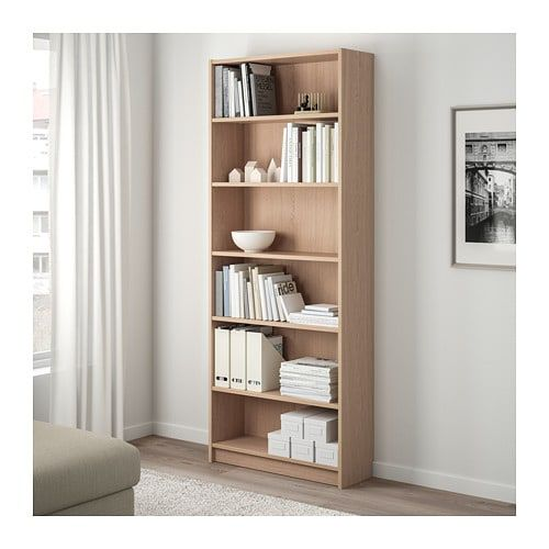 Billy Boekenkast Wit Gelazuurd Eikenfineer 80x28x202 Cm Ikea Bookcase Billy Bookcase White Bookcase