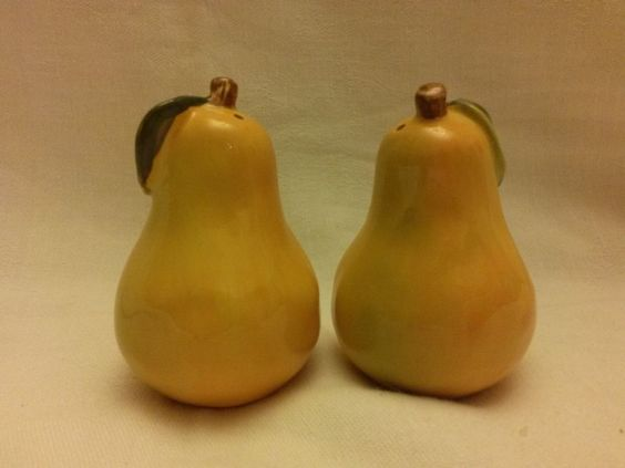 A set of Yellow/Green Pear Salt and Pepper Shakers
