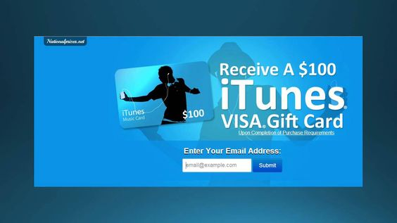 Receive A Free $100 iTunes Visa Gift Card!