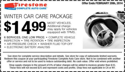 Firestone Printable Coupon Get a Winter Car Care package for only - coupon disclaimer examples