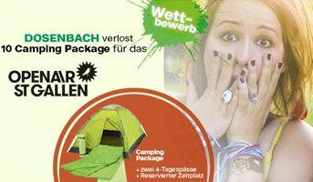 Gewinne mit Dosenbach und ein wenig Glück 10 x 1 Camping Package für das #OASG. Im Preis inbegriffen ist ein Zelt für 2 Personen, 2 x ein 4-Tagespass für das Openair St. Gallen sowie ein reservierter Zeltplatz vor Ort. https://www.alle-schweizer-wettbewerbe.ch/gewinne-tagespass-openair-st-gallen/