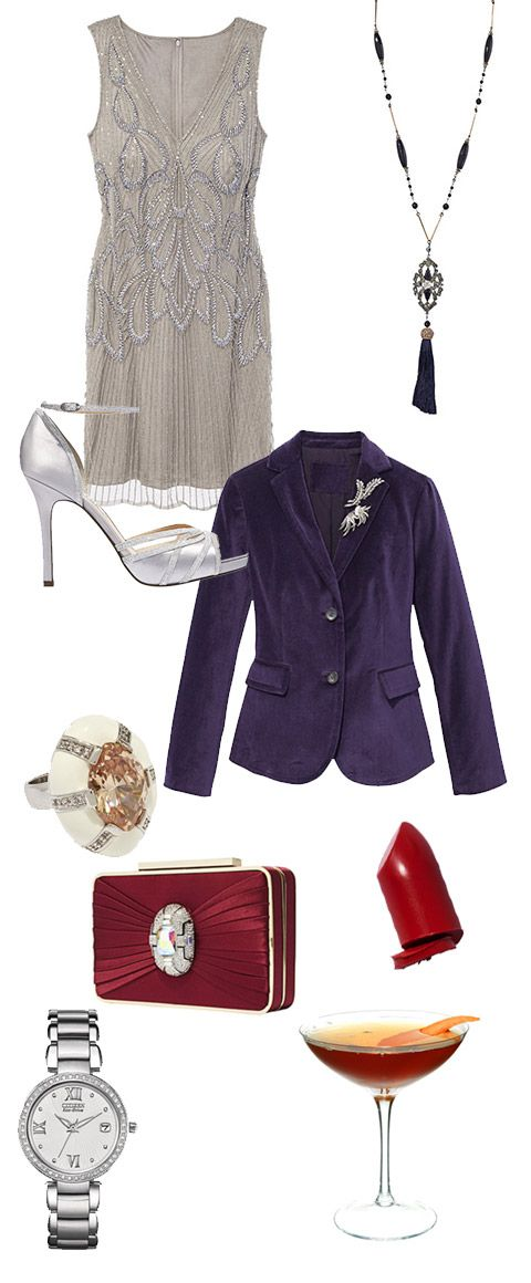 A luscious velvet jacket contrasts beautifully with a flapper-style dress and vintage-look accessories. Wear it with a vivid, spunky red and a Hanky-Panky.