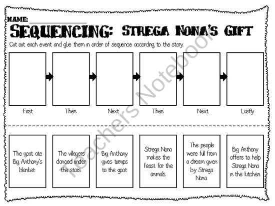 Sequencing Worksheet for Strega Nona's Gift | My Classroom ...