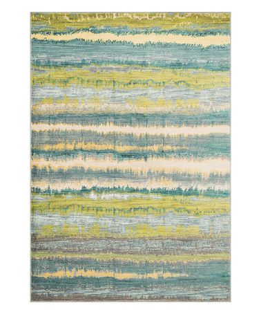 zulily: Teal & Yellow Lyon Rug by nuLOOM. Something like this for the dining room