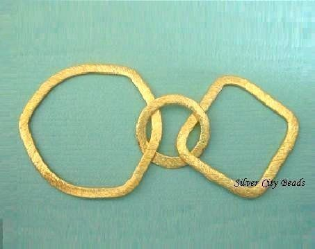Vermeil Links Connectors BRUSHED 2 Pcs  24k by SilverCityBeads