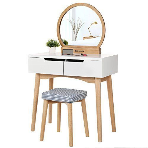 Wondrous Small Dressing Table Set Mirror Stool Drawers White Natural Dailytribune Chair Design For Home Dailytribuneorg