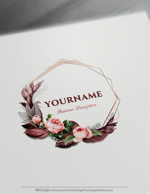 Vintage Logo Design Maker Frame Rose Logo Template Design Your Own Elegant Frame Roselogo Roseslo Flower Logo Design Floral Logo Design Wedding Logo Design