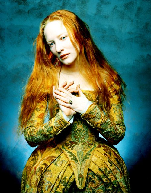"""Cate Blanchett in another beautiful costume from """"Elizabeth"""" (1999).  Costumes by Alexandra Byrne, set about 1559,"""