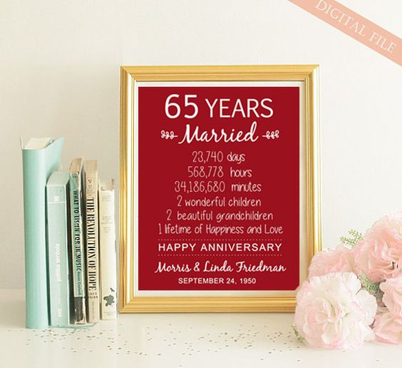 65th Wedding Anniversary Gift For Parents : ... ideas and more anniversary gifts anniversaries gifts etsy wedding