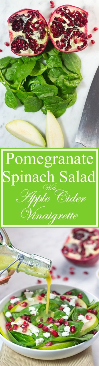 Pomegranate Spinach Salad With Apple Cider Vinaigrette - Bid goodbye to the boring side salad with this bowl of crisp, baby spinach, juicy pear slices, sweet pomegranate seeds, and tangy goat cheese. Paired with a homemade, paleo apple cider vinaigrette, this salad is a healthy feast of fresh and seasonal ingredients.