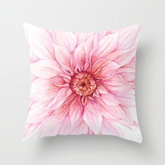 Dahlia Pillow Cover Pink Flower Pillow Cover Modern Decor Aldari Home Flower Pillow Pillow Covers Pillows