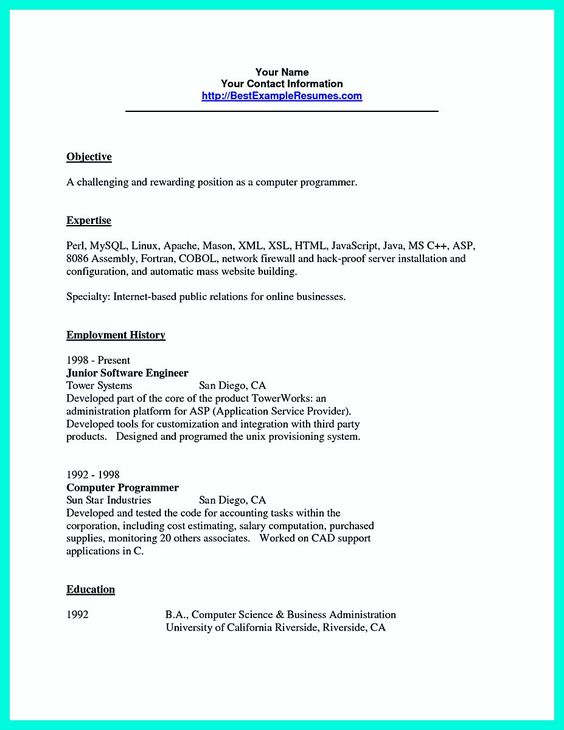 What you will include in the computer science resume depends on - ballet dancer resume
