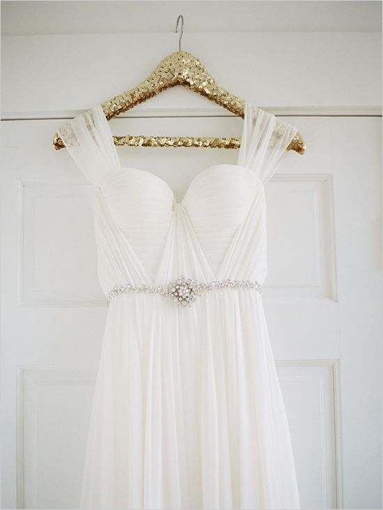 Gold sequin wedding dress hanger. Obsessed.