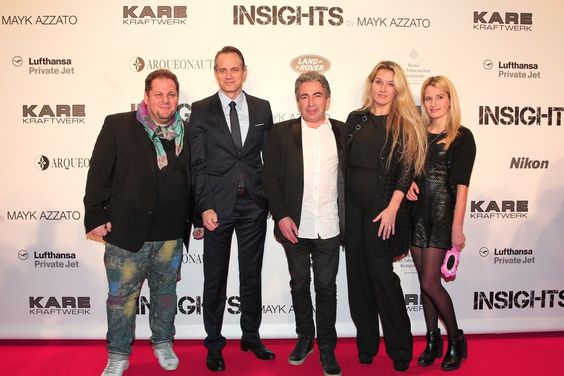 v.l.n.r. Mayk Azzato, Ralf Bauer, Firmengründer Peter Schönhofen mit Ehefrau und Tochter