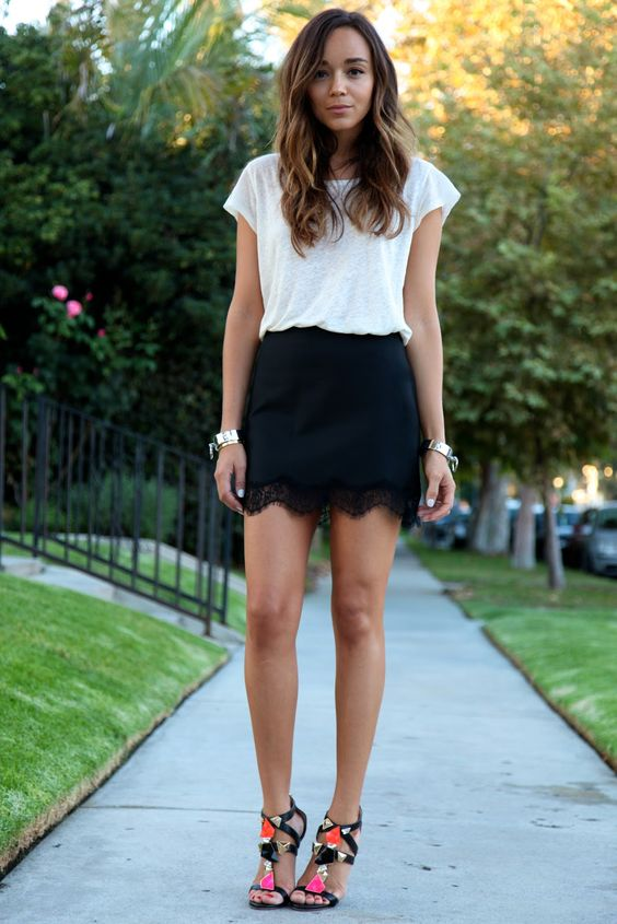 Ring My Bell: White T-shirt + Black Lace Shorts http://FashionCognoscente.blogspot.com