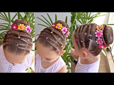 Penteado Infantil Com Coque Flores E Ligas Coloridas