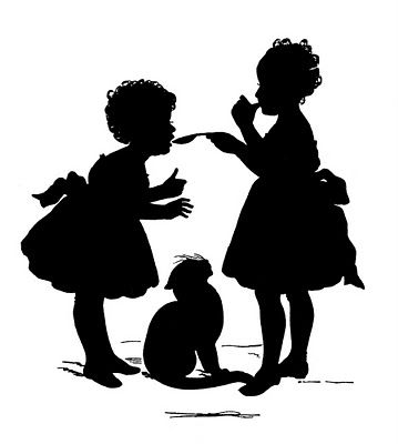 Free clip art vintage images~ ~ Love silhouettes.