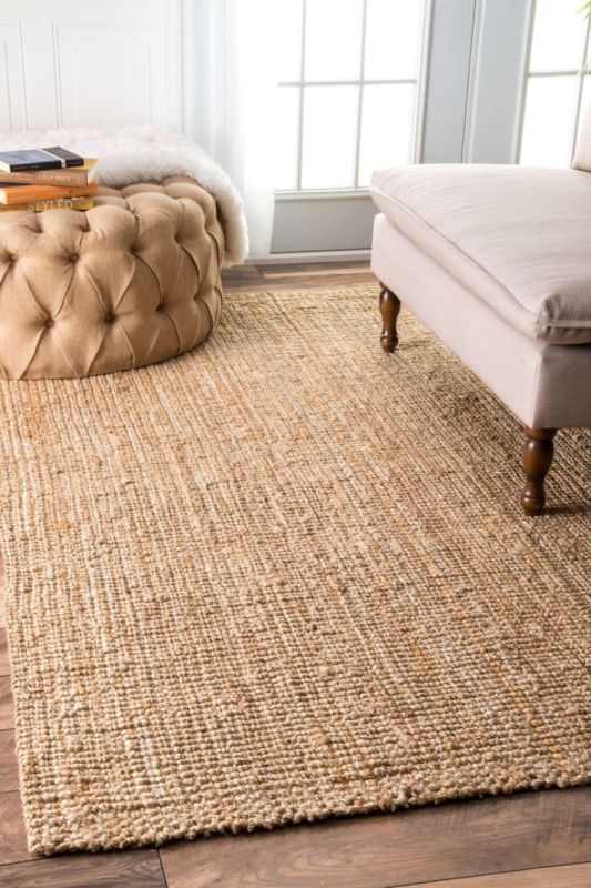 Nuloom Hand Made Modern Simple Ribbed Jute Area Rug In Solid Natural Tan Nuloom Rugs Natural Area Rugs Rugs