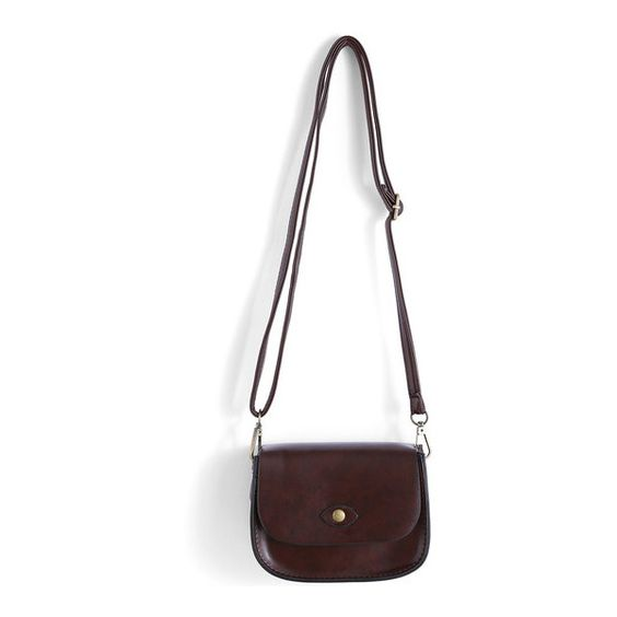 SheIn(sheinside) Brown Magnetic Buckle PU Shoulder Bag (320 UAH) ❤ liked on Polyvore featuring bags, handbags, shoulder bags, brown, brown purse, magnetic purse, vintage shoulder bag, pu purse and vintage handbags
