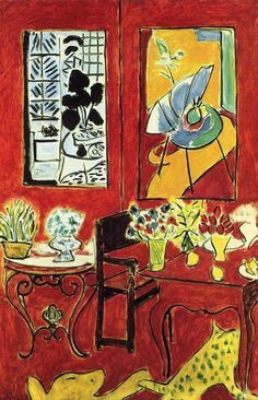 Henri Matisse (French, 1869-1954): Large Red Interior, 1948. Oil on canvas; 57-1 /2 x 38-3/16 inches (146 x 97 cm). Centre Pompidou, Musée National d'Art Moderne, Paris, France