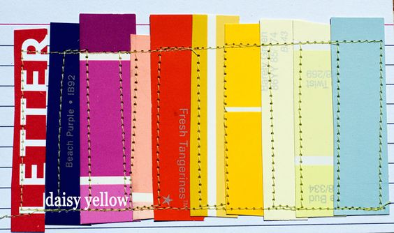 Daisy Yellow prompts #58 and #59, paint chips, stitched - Rainbow Paint Chips for the Daisy Yellow 2015 ICAD Challenge...